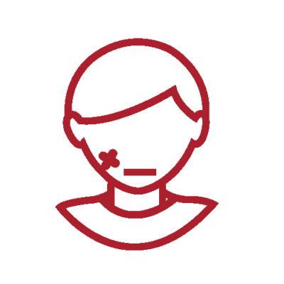 Red clipart of person illustrating facial trauma